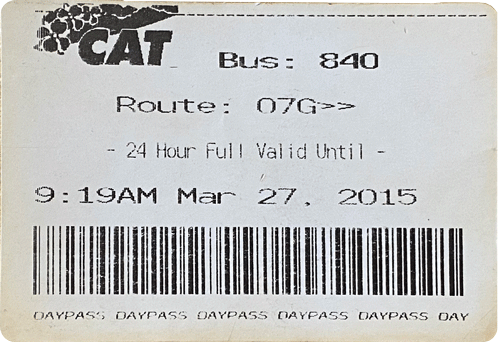 Charlottesville Area Transit Example Bus Ticket
