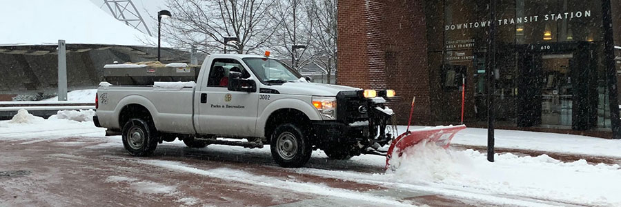 Truck snow plowing
