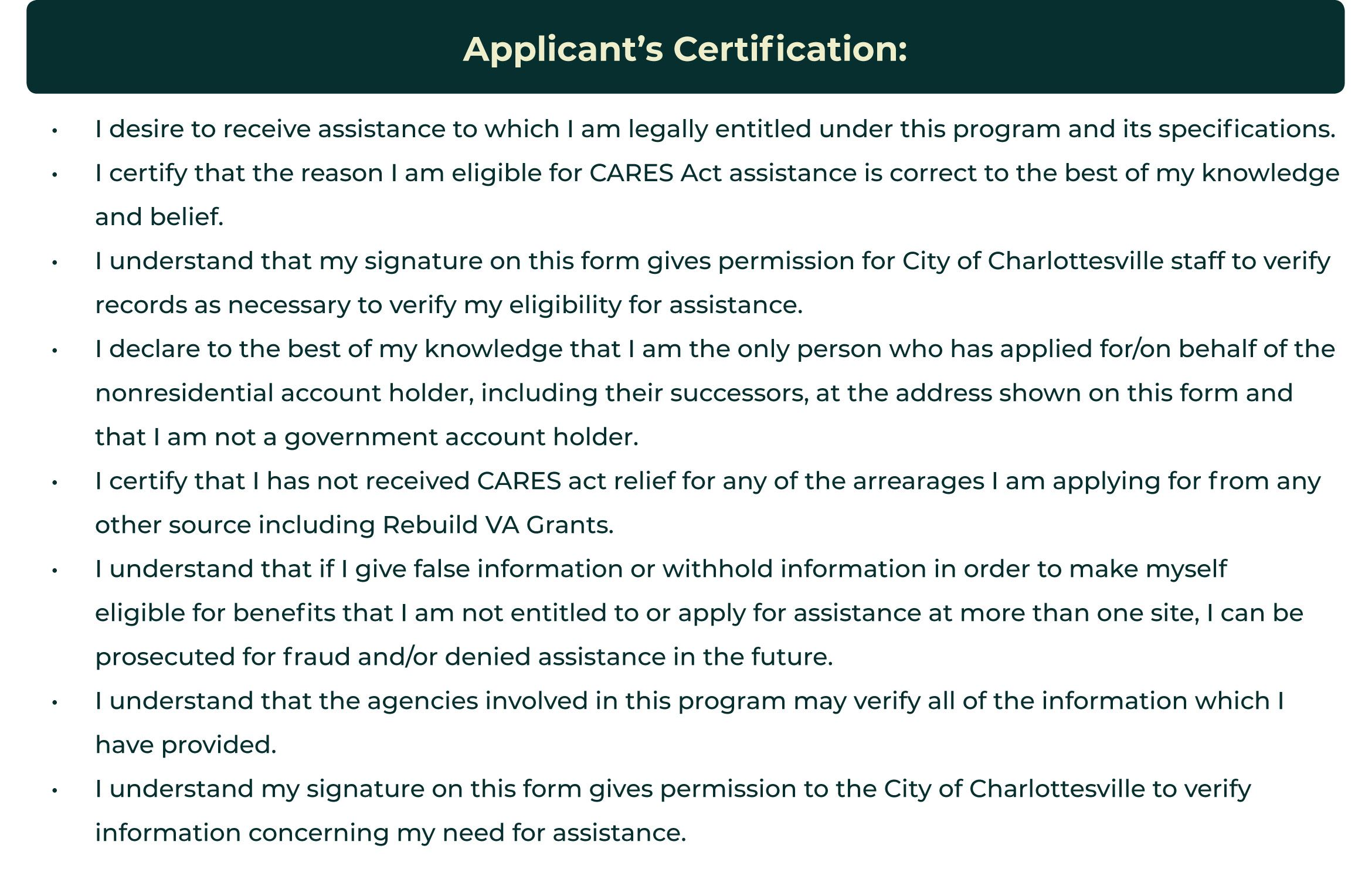 Applicant's Certification of eligibility that the customer meets the requirement for the program