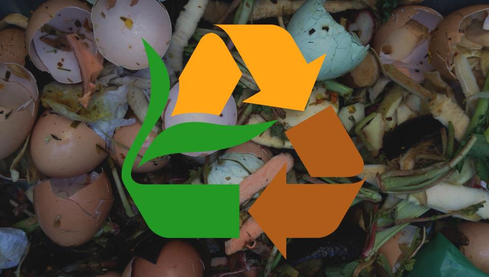 Picture of compost icon on top of egg shells