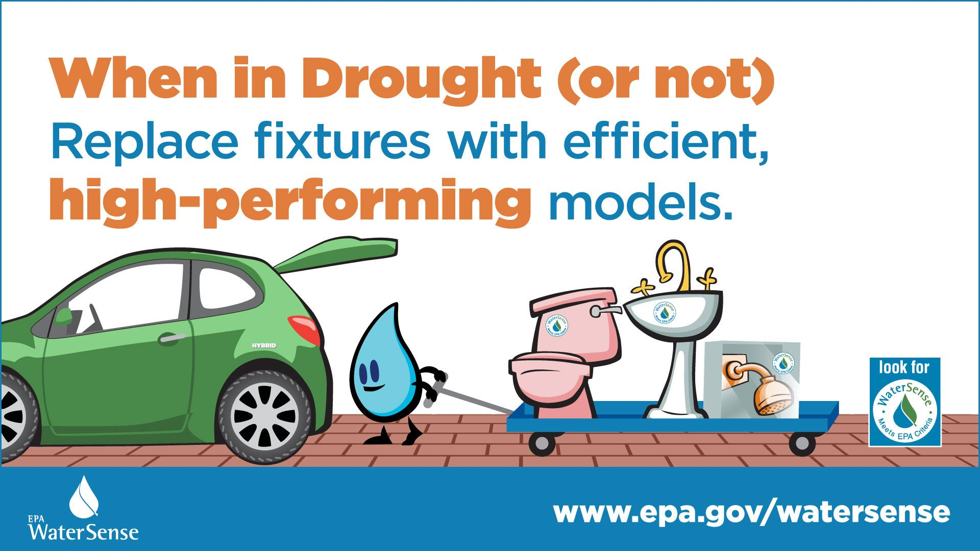 WaterSense reminder that when in drought to replace fixtures with high performing models