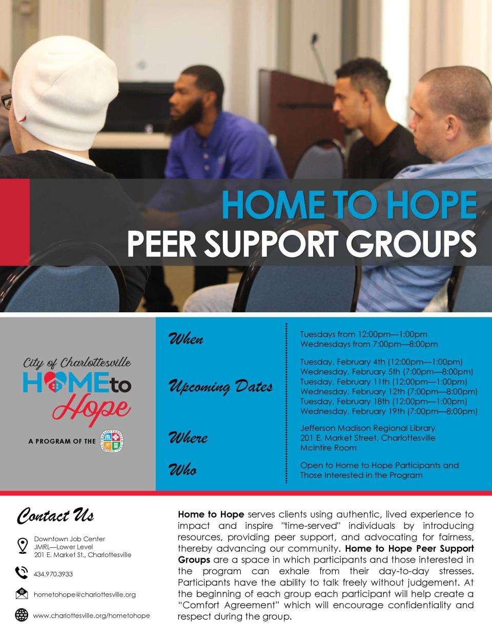 Home to Hope Peer Support Groups Flyer