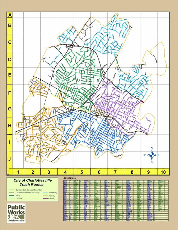 Citywide Trash Collection Schedule Map - City of Charlottesville - Jan. 22, 2020 (PDF) Opens in new window